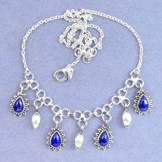 925 sterling silver natural blue lapis lazuli white pearl necklace k90639