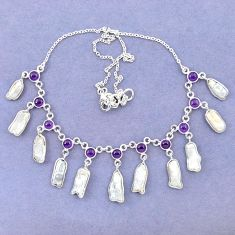 Natural white biwa pearl purple amethyst 925 sterling silver necklace k90981