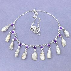 Natural white biwa pearl amethyst 925 sterling silver necklace jewelry k90982