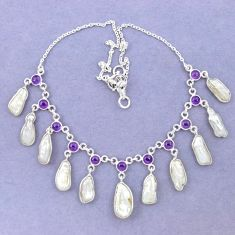 Natural white biwa pearl amethyst 925 sterling silver necklace jewelry k90983
