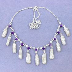 Natural white biwa pearl amethyst 925 sterling silver necklace jewelry k90984