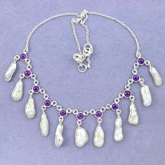 925 sterling silver natural white biwa pearl amethyst necklace jewelry k90985