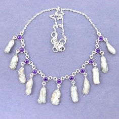 Natural white biwa pearl fancy amethyst 925 sterling silver necklace k90986