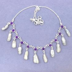 Natural white biwa pearl purple amethyst 925 sterling silver necklace k90987