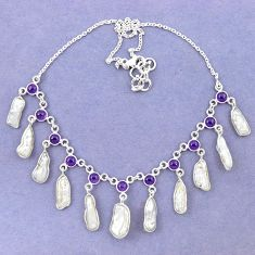 Natural white biwa pearl amethyst 925 sterling silver necklace jewelry k90988
