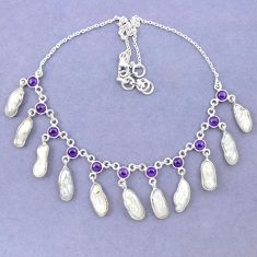 Natural white biwa pearl fancy amethyst 925 sterling silver necklace k90990