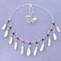 925 sterling silver natural white biwa pearl amethyst necklace jewelry k90991