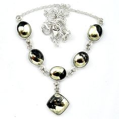 Natural golden pyrite in magnetite (healer's gold) 925 silver necklace k91165
