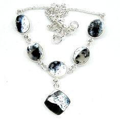 Natural white dendrite opal (merlinite) 925 sterling silver necklace k91167