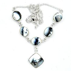 925 silver natural white dendrite opal (merlinite) necklace jewelry k91169