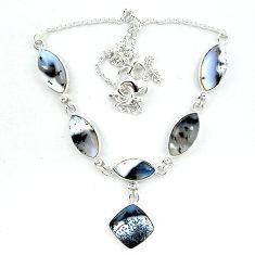 Natural white dendrite opal (merlinite) 925 sterling silver necklace k91170