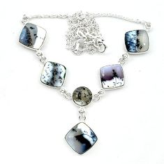 Natural white dendrite opal (merlinite) 925 silver necklace jewelry k91172