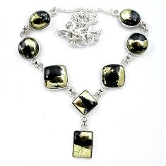 Natural golden pyrite in magnetite (healer's gold) 925 silver necklace k91175