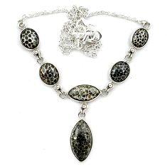 925 sterling silver natural black stingray coral from alaska necklace k91178
