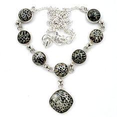 Natural black stingray coral from alaska 925 silver necklace k91179