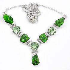 Green chrome diopside rough amethyst 925 silver necklace jewelry k91191