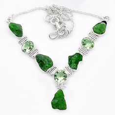 Green chrome diopside rough amethyst 925 sterling silver necklace k91192