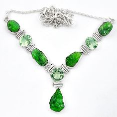 Green chrome diopside rough amethyst 925 silver necklace jewelry k91193