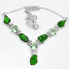 Green chrome diopside rough amethyst 925 silver necklace jewelry k91194