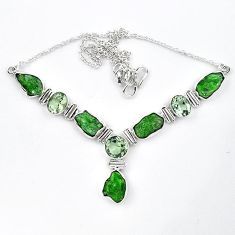 Green chrome diopside rough amethyst 925 silver necklace jewelry k91195