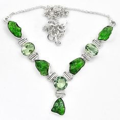 925 silver green chrome diopside rough amethyst necklace jewelry k91196