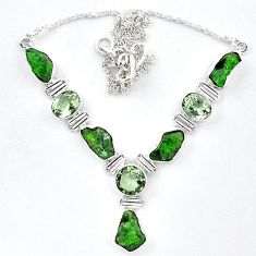 Green chrome diopside rough amethyst 925 silver necklace jewelry k91197