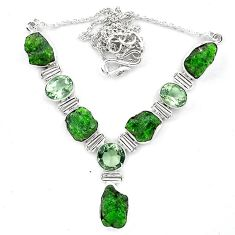Green chrome diopside rough amethyst 925 sterling silver necklace k91198