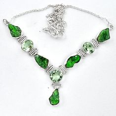 Green chrome diopside rough amethyst 925 silver necklace jewelry k91199