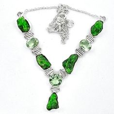 925 sterling silver green chrome diopside rough amethyst necklace k91200