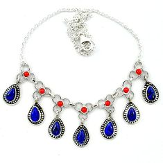 Natural blue lapis lazuli red coral 925 sterling silver necklace k91219