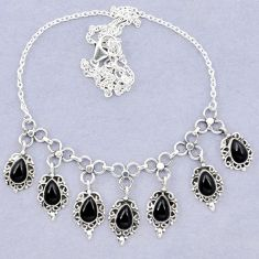 Natural black onyx pear 925 sterling silver necklace jewelry k92461