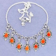 Red copper turquoise 925 sterling silver necklace jewelry k92466