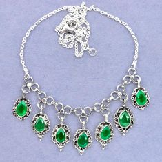 Natural green chalcedony 925 sterling silver necklace jewelry k92474