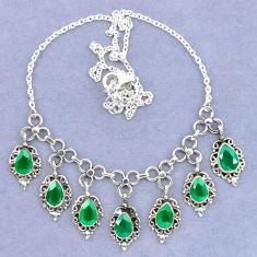 Natural green chalcedony 925 sterling silver necklace jewelry k92475