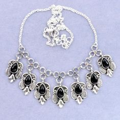 Natural black onyx 925 sterling silver necklace jewelry k92482