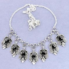 Natural black onyx 925 sterling silver necklace jewelry k92483