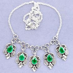 925 sterling silver natural green chalcedony necklace jewelry k92484