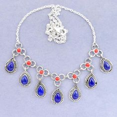Natural blue lapis lazuli red coral 925 sterling silver necklace k92496