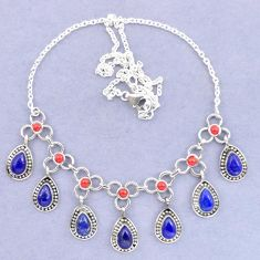 925 sterling silver natural blue lapis lazuli red coral necklace k92498