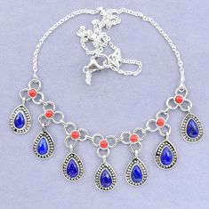Natural blue lapis lazuli coral 925 sterling silver necklace k92499