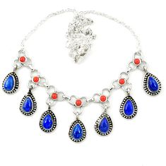 925 sterling silver natural blue lapis lazuli coral necklace jewelry m25438