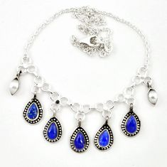 Natural blue lapis lazuli pearl 925 sterling silver necklace jewelry m25439