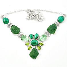 Natural green moldavite (genuine czech) malachite 925 silver necklace m26509