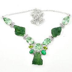 925 silver natural green moldavite (genuine czech) malachite necklace m26510