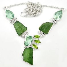 Natural green moldavite (genuine czech) 925 silver necklace jewelry m26512