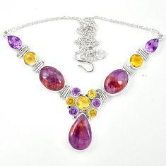 Natural purple cacoxenite super seven (melody stone) 925 silver necklace m26513