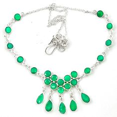 27.65cts natural green chalcedony 925 sterling silver necklace jewelry m31516