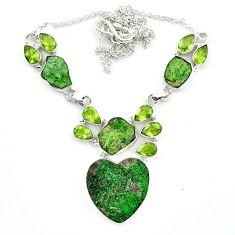 Natural green uvarovite garnet heart peridot 925 silver necklace jewelry m4425