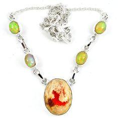 925 silver natural orange mexican fire opal ethiopian opal necklace m5049