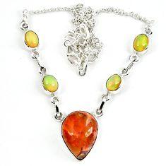 Natural orange mexican fire opal ethiopian opal 925 silver necklace m5051